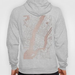 New York City White on Rosegold Street Map Hoody