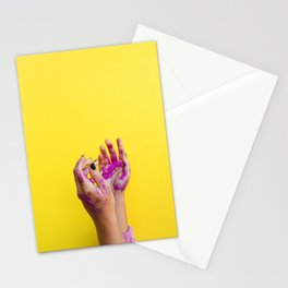 Yellow Paint Hands (Color) Stationery Cards