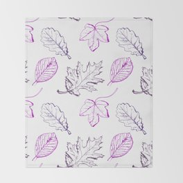 Leaves (purple) Throw Blanket