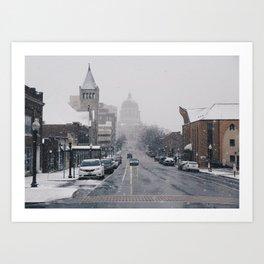Snowy Streets in Jefferson City Art Print