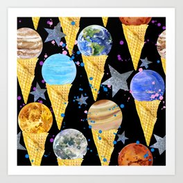 Univers with Planet of the solar system. Art Print