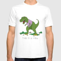 T. Rex in a V-neck MEDIUM Mens Fitted Tee White