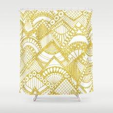 Golden Doodle mountains Shower Curtain