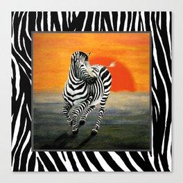 Zebra Galloping at Sunset Canvas Print