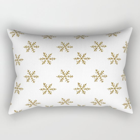 Merry christmas- Gold glitter snowflakes- Winter pattern Rectangular Pillow
