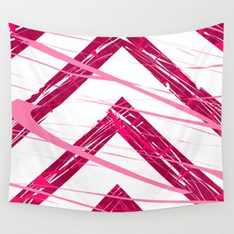 Upwards Movements Red Pink Abstract Art Wall Tapestry