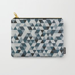 Sea Blue and Grey / Gray - Hipster Geometric Triangle Pattern 02 Carry-All Pouch