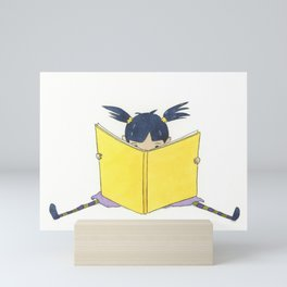 Little Girl Reading Mini Art Print
