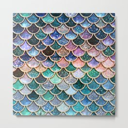 Multicolor pink and aqua mermaid scales -Beautiful abstract glitter pattern Metal Print