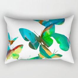 Green Butterflies Rectangular Pillow