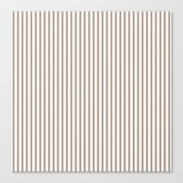 Mattress Ticking Narrow Striped Pattern in Chocolate Brown and White Canvas Print
