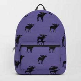 Bull Moose Silhouette - Black on Ultra Violet Backpack