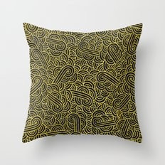 Black and faux gold swirls doodles Throw Pillow