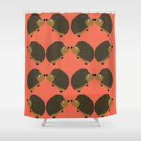hedgehog Shower Curtains featuring Hedgehog by PoseManikin