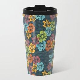 Dusky Blue Raining Florals Travel Mug