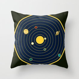 Atomic Solar System Throw Pillow