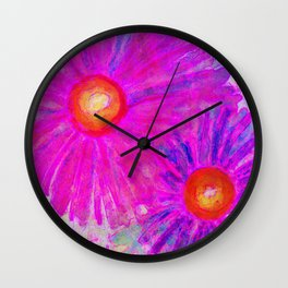 Bright Pink Sketch Flowers Wall Clock