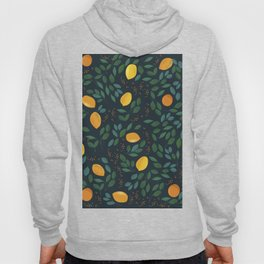 Citrus fruit yellow lemons on a branch with green leaves. Vintage hand drawn illustration pattern Hoody