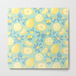 Lemon Pattern Mint Metal Print