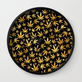 Black Gold Weed Pattern Wall Clock