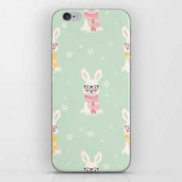 White rabbit Christmas pattern 001 iPhone Skin