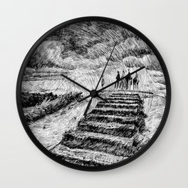 Drawing Black ink - Storm Wall Clock