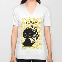 yoga V-neck T-shirts featuring Yoga by BLOOP