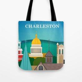 Charleston, West Virginia - Skyline Illustration by Loose Petals Tote Bag