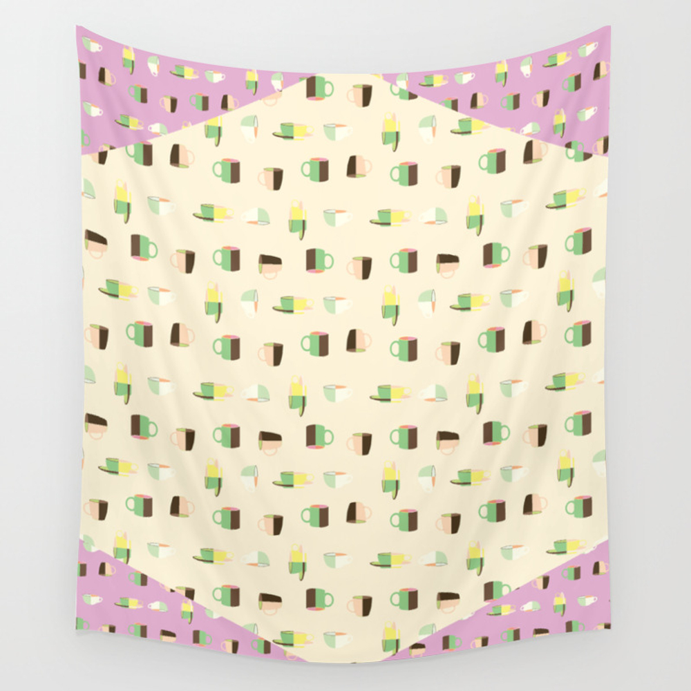 Coffee Cup Tea Cup With Ice Cream Color Pattern Wall Tapestry by Johnqdoan TPS6848521