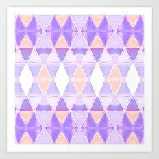 Art Deco Triangles Light Purple Art Print