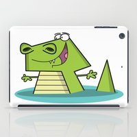 crocodile iPad Cases featuring Crocodile by Shahed Ali illustration