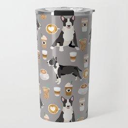 Bull Terrier coffee latte cafe dog breed cute custom pet portrait pattern Travel Mug