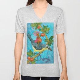 Fruits and Fantasy: Cherry/Yellow breast bird Unisex V-Neck