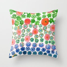 Playful Green Stars and Colorful Circles Pattern Throw Pillow