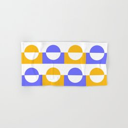 Modern abstract complimentary colors  geomteric art  - purple and yellow Hand & Bath Towel