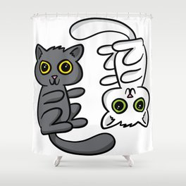 Two Cats, One Print Shower Curtain