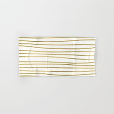 Small uneven gold glitter stripes on clear white - horizontal pattern on #Society6 Hand & Bath Towel