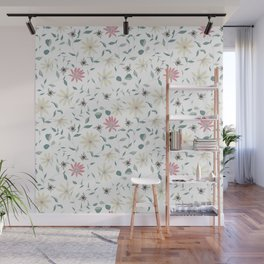 Floral Bee Print Wall Mural