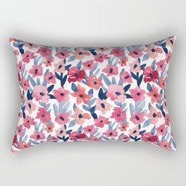 Layered Watercolor Floral Pink and Navy Rectangular Pillow