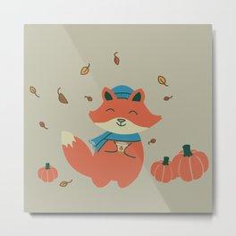 Pumpkin Spice Fox-ae Tan Metal Print