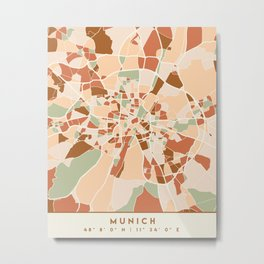 MUNICH GERMANY CITY MAP EARTH TONES Metal Print