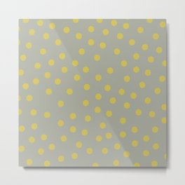 Simply Dots Mod Yellow on Retro Gray Metal Print
