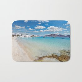Ammos beach and the port of Koufonissi island in Cyclades, Greece Bath Mat