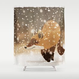 Sneaky smart fox in snowy forest winter snowflakes drawing Shower Curtain