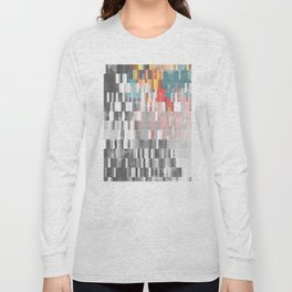 Vibrant Graffity on Black and White Geometry Long Sleeve T-shirt