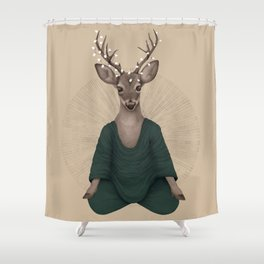 meditating deer green Shower Curtain