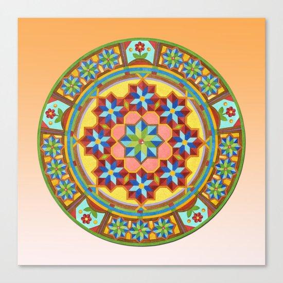 Westminster Mandala on Orange Ground Canvas Print