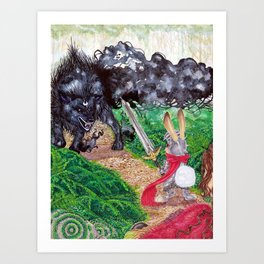 The beast and the knight Art Print
