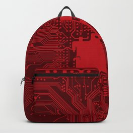 Red Geek Motherboard Circuit Pattern Backpack