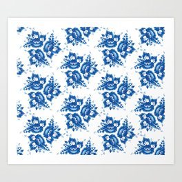 Vintage shabby Chic Seamless pattern with blue flowers and leaves. Vector Art Print